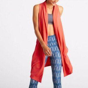 Lucy yoga workout calm heart wrap long vest top